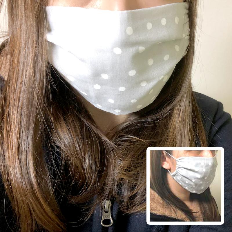 手縫い布マスクの装着写真